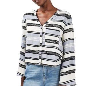 TopShop Button Down Striped Slit Sleeves Blouse